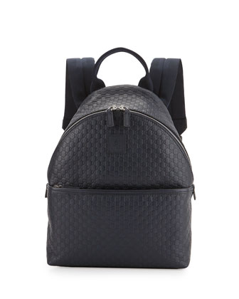 Leather Logo-Embossed Backpack, Blue