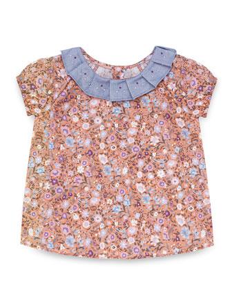 Floral-Print Cap-Sleeve Blouse, Pink/Multicolor, Size 3-36 Months