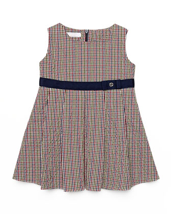Sleeveless Seersucker Dress, Red/White/Blue, Size 3-36 Months