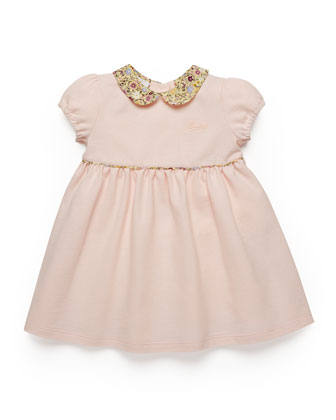 Floral-Trim Pique Dress, Pink/Multicolor, Size 3-36 Months
