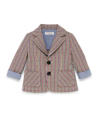 Check-Print Seersucker Sport Coat, Red/White/Blue, Size 3-36 Months