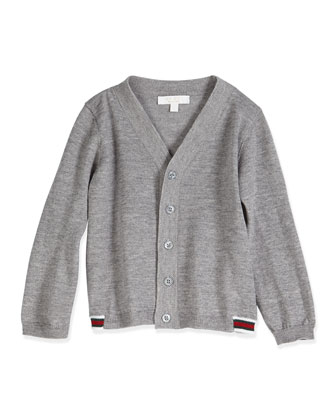 Long-Sleeve V-Neck Cardigan, Light Gray, Size 3-36 Months