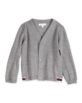 Long-Sleeve V-Neck Cardigan, Light Gray, Size 3-36 Months