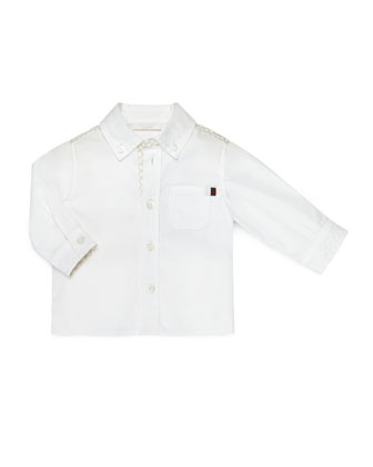 Long-Sleeve Logo-Trim Poplin Shirt, White, Size 3-36 Months