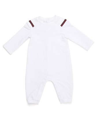 Fleece-Lined Web-Trim Coverall, White, Size 3-18 Months