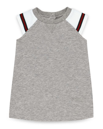 Sleeveless Fleece Raglan Dress, Gray/White, Size 0-36 Months