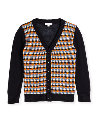 Woven V-Neck Cardigan, Navy/White/Nectar, Sizes 4-12