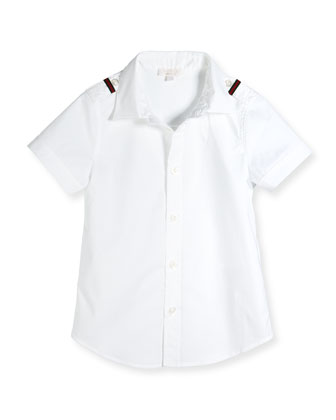 Short-Sleeve Button-Front Shirt, White, Sizes 4-12