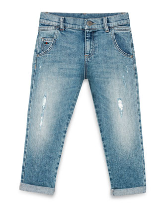 Distressed Slim-Fit Denim Jeans, Waterfall Blue, Size 4-12