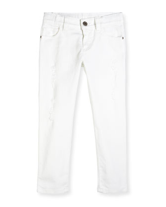 Distressed Skinny Jeans, White, Sizes 4-12