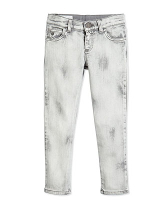Marble-Washed Skinny Jeans, White/Gray, Size 4-12