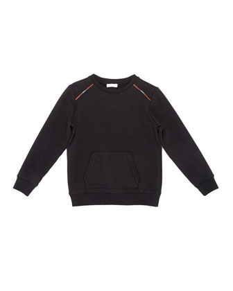 Fleece-Lined Raglan Sweater, Black, Size 4-12