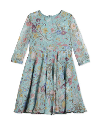 Floral Silk Georgette Dress, Blue/White/Multicolor, Size 4-12