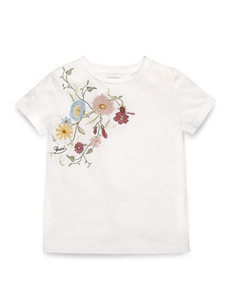Embroidered Jersey Tee, Ivory/Multicolor, Size 4-12