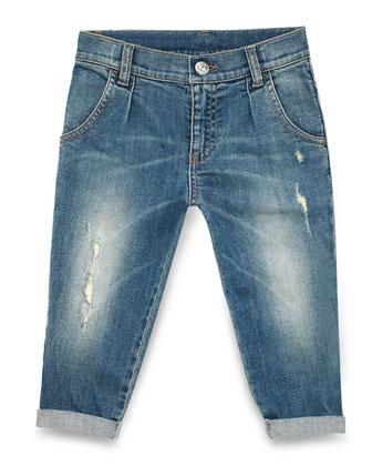 Stonewashed Pleated Denim Jeans, Blue, Size 4-12