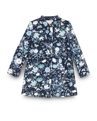 Floral-Print Long-Sleeve Jacket, Blue/Multicolor, Size 4-12