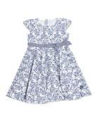 Floral Print Jersey Dress, Navy/White, SIze 2-8
