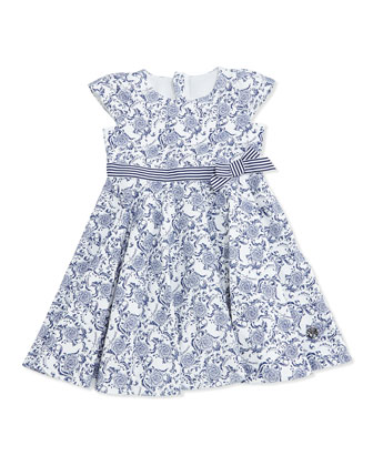 Floral Print Jersey Dress, Navy/White, SIze 2-8