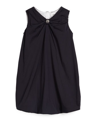 Sleeveless Poplin Bubble Dress, Navy, Size 2-8