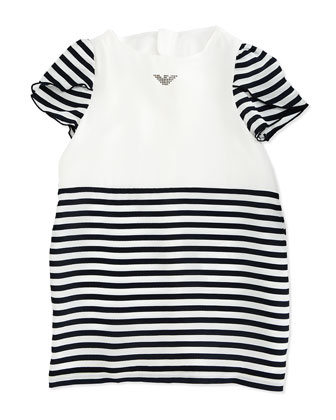Tulip-Sleeve Striped Dress, White/Navy, Size 2-8