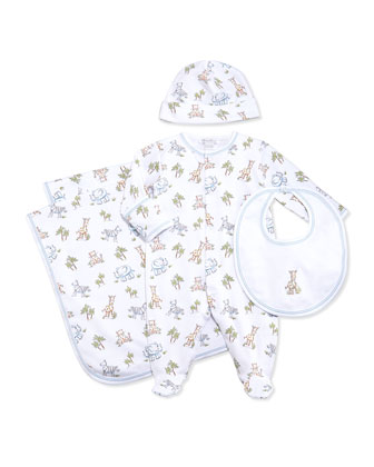 Sunny Safari-Print Footie Pajamas, Baby Hat, Blanket & Bib, White