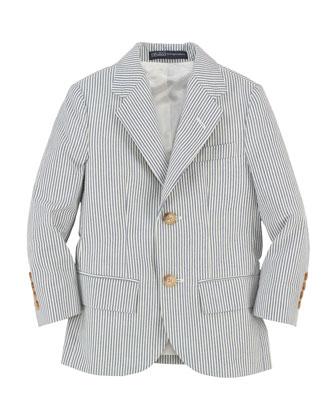 Polo I Striped Seersucker Jacket, Blue/Cream, Size 2-7
