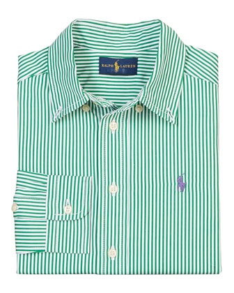 Striped Tailored Poplin Shirt, Green/Multicolor, Size 2-7