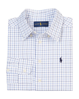 Check-Print Tailored Poplin Shirt, Blue/Multicolor, Size 2-7