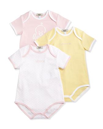 Cotton Playsuit 3-Piece Gift Set, Pink, Size 1-12 Months