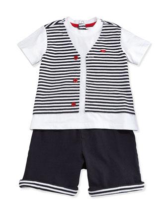 Jersey Tee & Shorts 2-Piece Gift Set, Navy, Size 1-12 Months