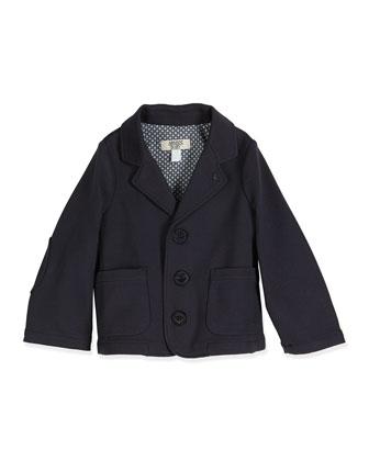 Stretch-Knit Three-Button Blazer, Indigo, Size 6-24 Months