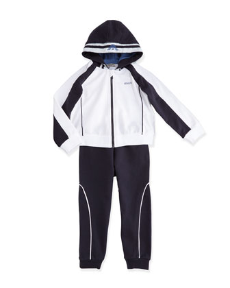 Two-Piece Hooded Track Suit, White/Navy, Size 3-24 Months