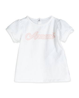 Script-Print Short-Sleeve Jersey Tee, White, Size 3-24 Months