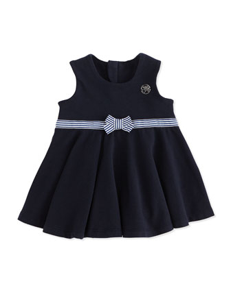 Dress with Stripe Belt, Navy, Girls' 3-24 Months