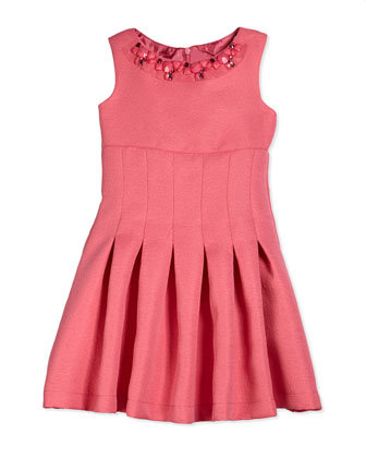 Embossed Jacquard Fit-and-Flare Dress, Coral