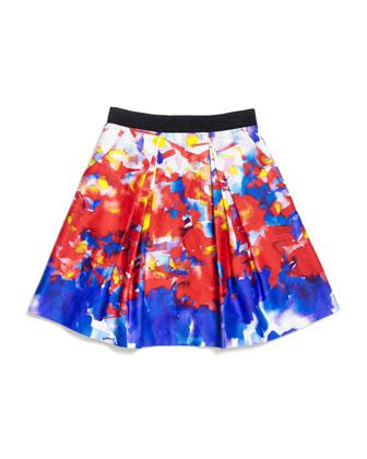 Katie Watercolor-Print Sateen Skirt, Multicolor, Size 2-7