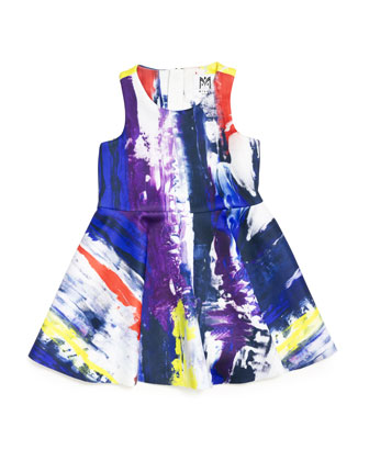 Sleeveless Graffiti-Print Flounce Dress, Multicolor