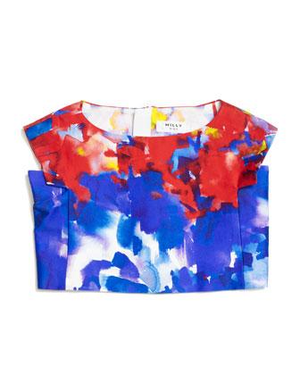 Watercolor-Print Crop Top & Sateen Skirt