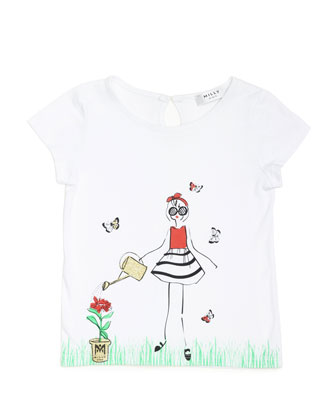 Milly Girl-Print Jersey Tee, White, Size 8-14