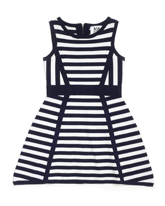 Directional Stripe Sleeveless Knit Dress, Black/White, Size 8-14