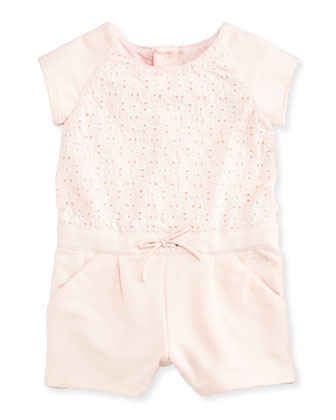 Embroidered Eyelet-Top Playsuit, Light Pink, Size 6M-3