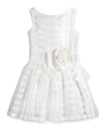 Organza Stripe Party Dress, White, Size 7-16