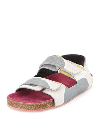 Girls' Camo Leather Slip-On Sandal, Ash Rose