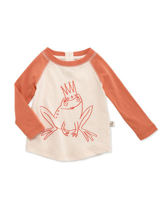Long-Sleeve Frog Princess Baseball Tee & Denim Shorts