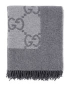 Logo Printed Blanket W/ Fringe, Charcoal