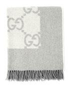Logo Printed Blanket W/ Fringe, Cream