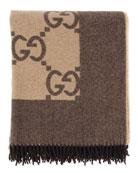 Logo Printed Blanket W/ Fringe, Brown