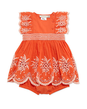 Floral Eyelet Embroidered Dress & Bloomers, Tangerine, Size 3-24 Months