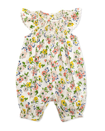 Floral-Print Embroidered Playsuit, Cream, Size 3-24 Months