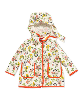 Floral-Print Raincoat, Cream, Size 6-24 Months
